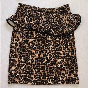 High waisted peplum body con cheetah skirt.